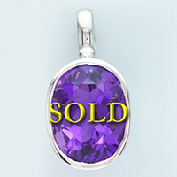 Oval Cut Sterling Unheated Jyotish Amethyst Pendant