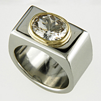 White Sapphire Gold & Platinum Ring for Jyotish & Ayurveda