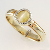 Sanskrit Engraving Cat's Eye Ring