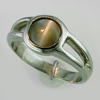 Women's White Gold Cat's Eye Ring for Jyotish, Vedic Astrology, Ayurveda