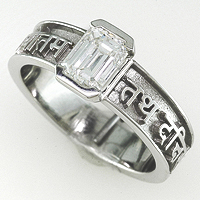 Women's Diamond Platinum Sanskrit Ring for Jyotish / Astrology