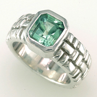 Women's Silver Emerald Ring for Astrology