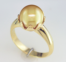 Women's White Gold and Yellow Gold Pearl Ring Jewelry for Jyotish (Vedic Astrology) & Ayurveda