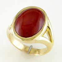 Women's Gold Red Coral Ring for Jyotish (Vedic Astrology) & Ayurveda