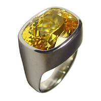 Yellow Sapphire Platinum Ring for Jyotish
