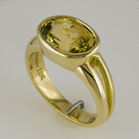 Women's Yellow Sapphire Ring Jyotish Setting